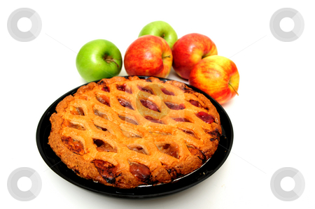 Apple Pie stock photo, Fresh apple pie with red and green apples on a white background by Lynn Bendickson