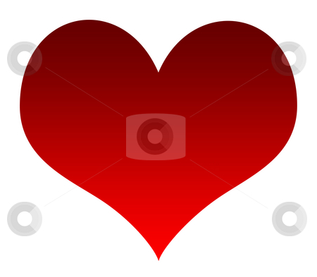 Red love heart stock photo, Red love heart with copy space, isolated on white background. by Martin Crowdy