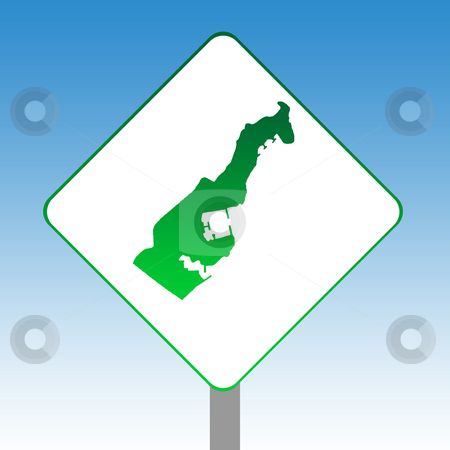 Monaco map road sign stock photo, Principality of Monaco map road sign in green isolated on white with blue sky background. by Martin Crowdy