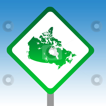 Canada Road Sign stock photo, Canadian map road sign isolated on graduated sky background. by Martin Crowdy