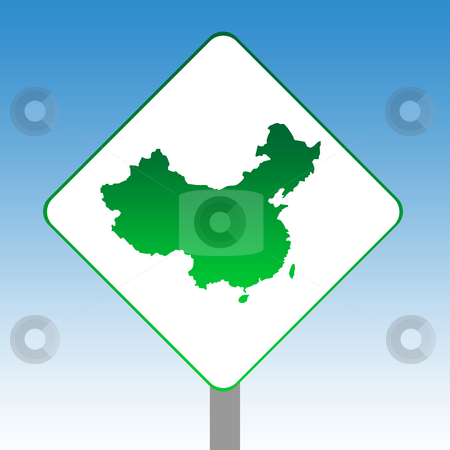 China map road sign stock photo, China map road sign in green islolated on white with blue sky background. by Martin Crowdy