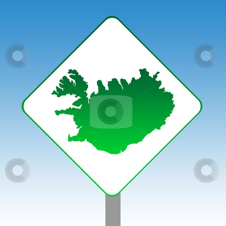 Iceland map road sign stock photo, Iceland map road sign in green isolated on white with blue sky background. by Martin Crowdy