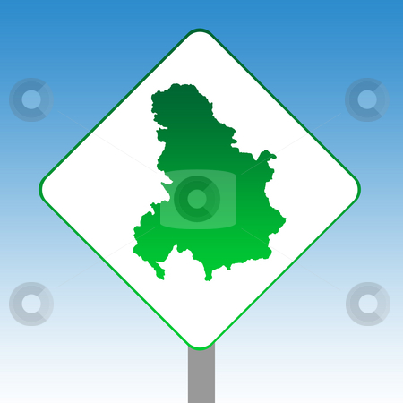 Serbia and Montenegro map road sign stock photo, Serbia and Montenegro map road sign in green isolated on white with blue sky background. by Martin Crowdy