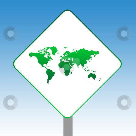 World Map sign stock photo, Planet Earth map road sign in green islolated on white with blue sky background. by Martin Crowdy