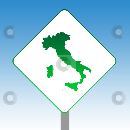 Italy map sign stock photo, Italy map road sign in green islolated on white with blue sky background. by Martin Crowdy