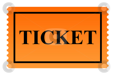 Ticket stock photo, Orange serrated ticket isolated on white background. by Martin Crowdy