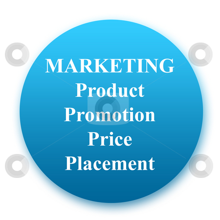 Marketing Button stock photo, Business marketing button showing product, promotion, price and placement, isolated on white background. by Martin Crowdy
