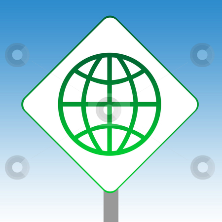 Internet World sign stock photo, Planet Earth internet road sign in green isolated on white with blue sky background. by Martin Crowdy