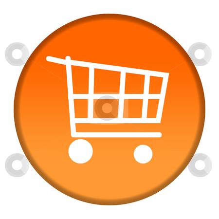 Shopping trolley button stock photo, Circular shopping trolley button isolated on white background. by Martin Crowdy