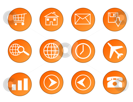 Business icons stock photo, Set of orange circular business icons isolated on white background. by Martin Crowdy
