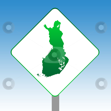 Finland map sign stock photo, Finland map road sign in green islolated on white with blue sky background. by Martin Crowdy