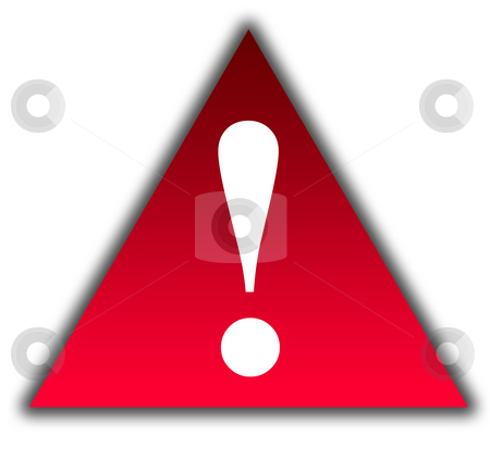 Attention icon stock photo, Attention icon exclamation mark in red triangle, isolated on white background,. by Martin Crowdy