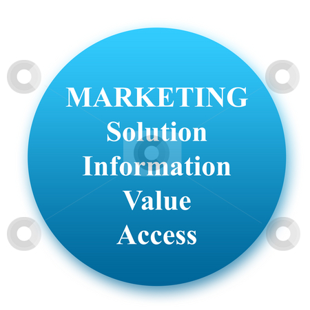 Marketing button stock photo, Marketing button definition with Solution, Information, Value, Access, isolated on white background. by Martin Crowdy
