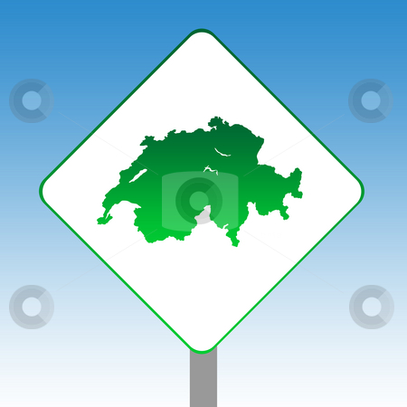 Switzerland map road sign stock photo, Switzerland map road sign in green isolated on white with blue sky background. by Martin Crowdy