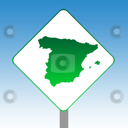 Spain map road sign stock photo, Spain map road sign in green isolated on white with blue sky background. by Martin Crowdy