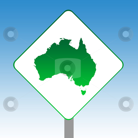 Australia map road sign stock photo, Australia map road sign in green isolated on white with blue sky background. by Martin Crowdy