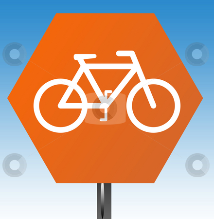Cycling warning sign stock photo, Cycling warning sign isolated on graduated blue sky background. by Martin Crowdy