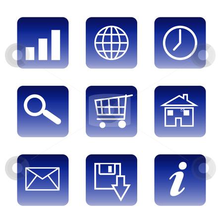 Communication icons stock photo, Set of glossy communication icons isolated on white background. by Martin Crowdy