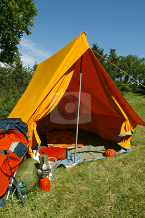 Camping site stock photo, Beautiful and natural camping site on a bright summer day by Jon Helgason