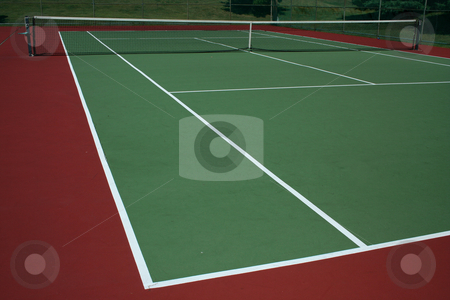 Tennis Court stock photo, A empty green Tennis Court with net by Jim Mills