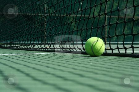 Tennis ball near net stock photo, A Tennis ball near net with showdows by Jim Mills
