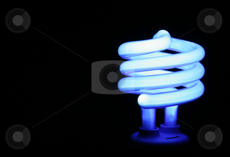 Blue Fluorescent Light stock photo, A blue compact flourescent energy saver light bulb set against a black background. by Chris Hill