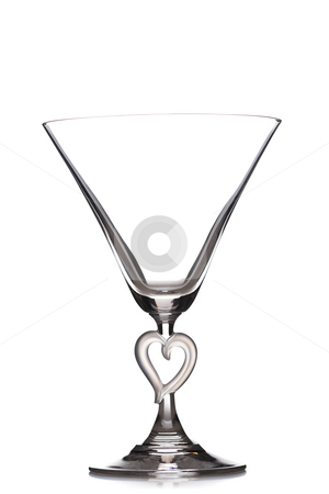 Martini glass stock photo, Empty martini heart shaped glass, isolated on white by Nikola Spasenoski