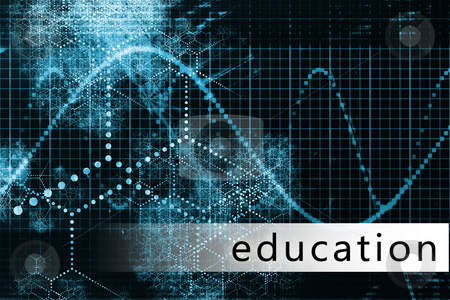 Education stock photo, Education in a Blue Data Background Illustration by Kheng Ho Toh