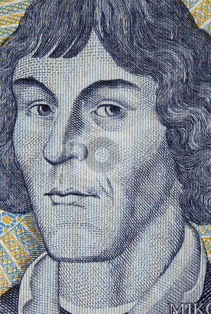 Nicolaus Copernicus, astronomer stock photo, Portrait of Nicolaus Copernicus - detail of engraving on 1000 zloty banknote from Poland by Marek Uliasz