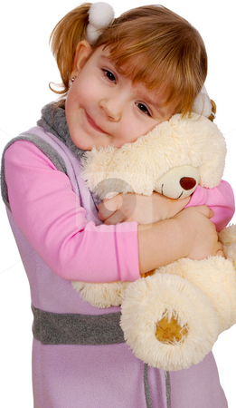 Little girl with teddy-bear stock photo, Little girl with teddy-bear by Goce Risteski
