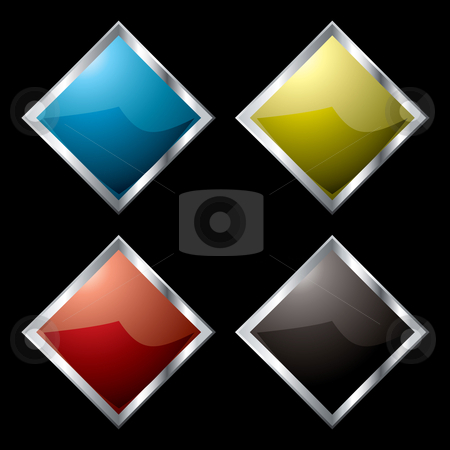 Metal surround diamond stock vector clipart, Square metal diamond logo with light reflection and black background by Michael Travers