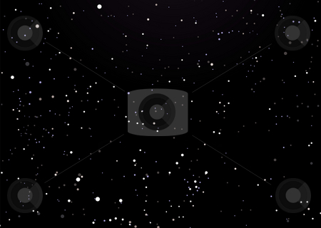 Night sky black with stars stock photo, Black night sky with illustrated space star background by Michael Travers