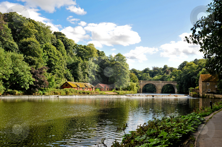 River Wear stock photo, River Wear and bridge in Durham England by Jaime Pharr