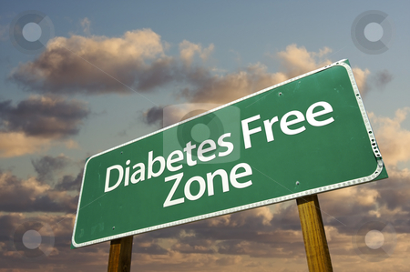 Diabetes Free Zone Green Road Sign and Clouds stock photo, Diabetes Free Zone Green Road Sign In Front of Dramatic Clouds and Sky. by Andy Dean
