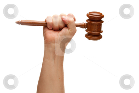 Man Holding Wooden Gavel in Fist on White stock photo, Man Holding Wooden Gavel in His Fist Isolated on a White Background. by Andy Dean