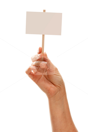 Woman Holding Blank White Sign Isolated on White stock photo, Woman Holding Blank White Sign Isolated on a White Background - Ready for Your Own Message. by Andy Dean