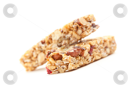 Two Granola Bars Isolated on White stock photo, Two Nutritious Granola Bars Isolated on White with narrow Depth of Field. by Andy Dean