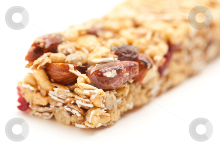 Granola Bar Isolated on White stock photo, Granola Bar Isolated on a White Background with Narrow Depth of Field. by Andy Dean