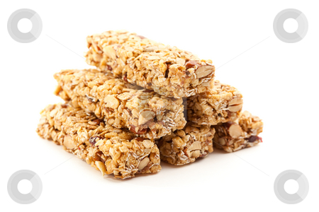 Stacked Granola Bars Isolated on White stock photo, Stacked Granola Bars Isolated on a White Background with Narrow Depth of Field. by Andy Dean