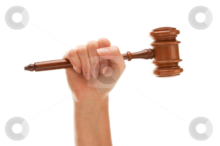 Woman Holding Wooden Gavel Isolated on White stock photo, Woman Holding Wooden Gavel in Her Fist Isolated on a White Background. by Andy Dean