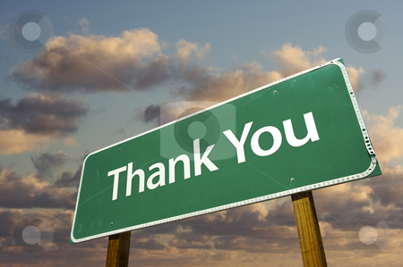 Thank You Green Road Sign Over Clouds stock photo, Left Facing Thank You Green Road Sign Over Dramatic Clouds and Sky. by Andy Dean
