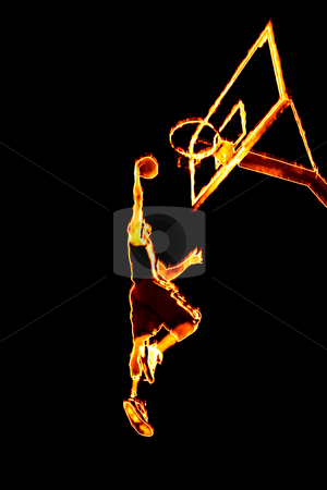 Fiery Basketball Slam Dunk stock photo, Abstract illustration of a fiery burning basketball player going up for a slam dunk. by Todd Arena