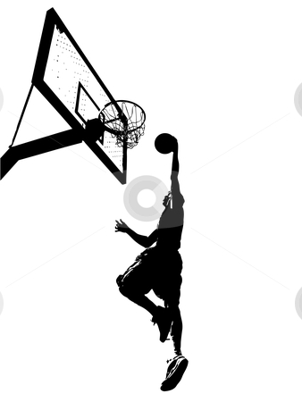 Slam Dunk Silhouette stock vector clipart, High contrast silhouette illustration of an athlete slam dunking a basketball. by Todd Arena