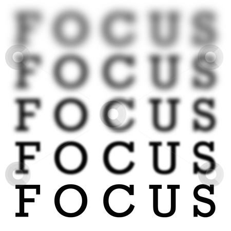 Focus Chart Scale stock photo, The word focus in 5 different  variations of blurriness and sharpness isolated over white. by Todd Arena