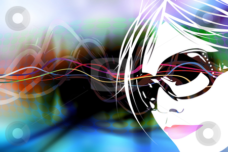 Club Girl Background stock photo, An illustration of a womans face over a multicolored rainbow background. by Todd Arena