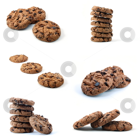 Cookie collection stock photo, Brown cookie or cake collection isolated on white background by Gunnar Pippel