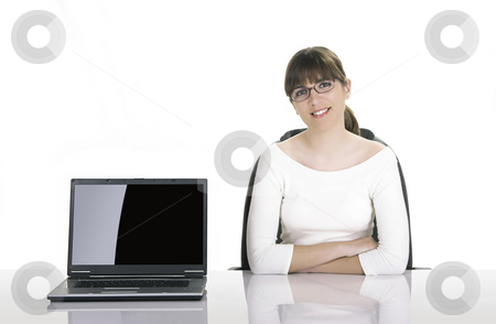 Business woman stock photo, Satisfied businesswoman showing a presentation on the laptop.