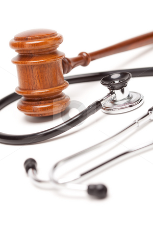Black Stethoscope and Gavel on White stock photo, Black Stethoscope and Gavel Isolated on a White Background. by Andy Dean