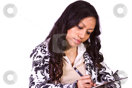 Cute Woman Studying at her Desk  stock photo, Isolated Shot of a Cute Woman Studying at her Desk by Mehmet Dilsiz