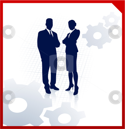 Business team silhouettes on corporate background with gears stock vector clipart,  by L Belomlinsky